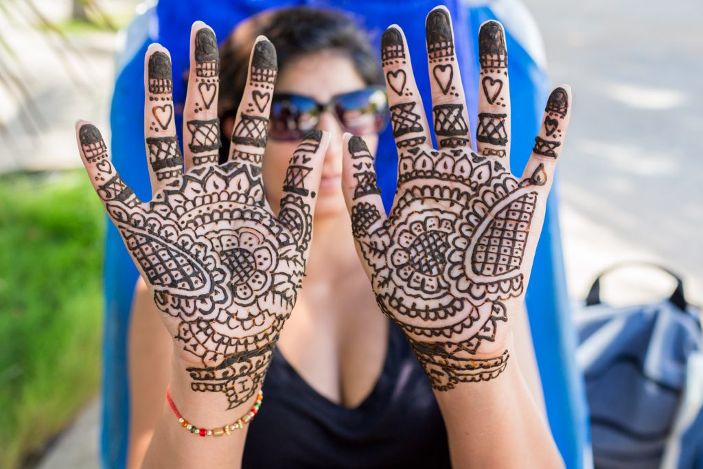 Traditional bridal mendhi for Antigua destination wedding