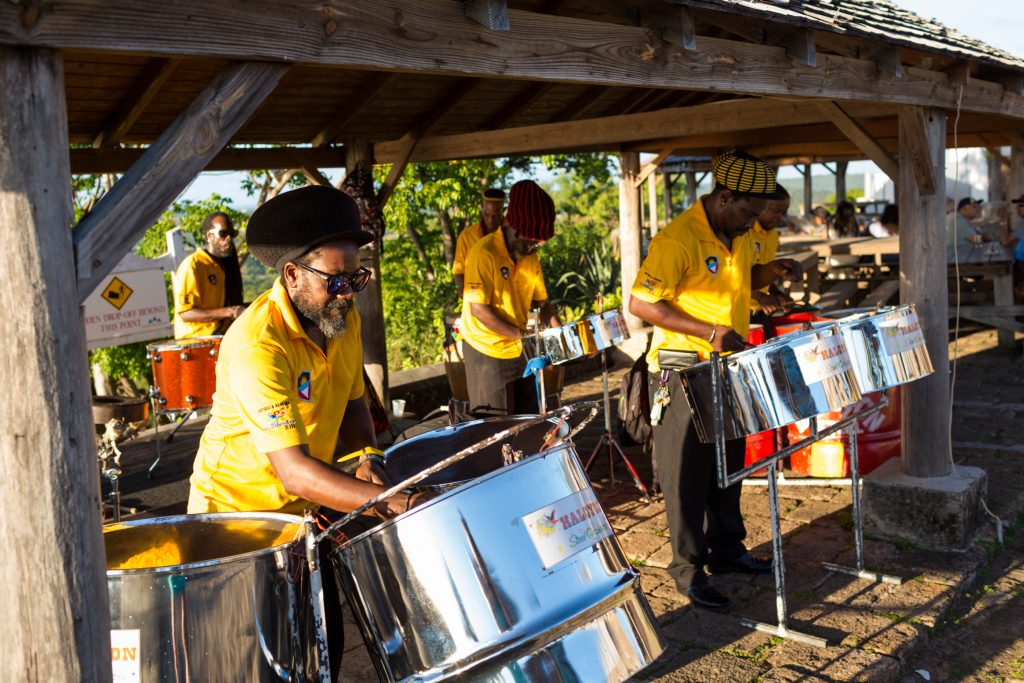 Steel drum band performance at Shirley Heights as part of this destination wedding week in Antigua