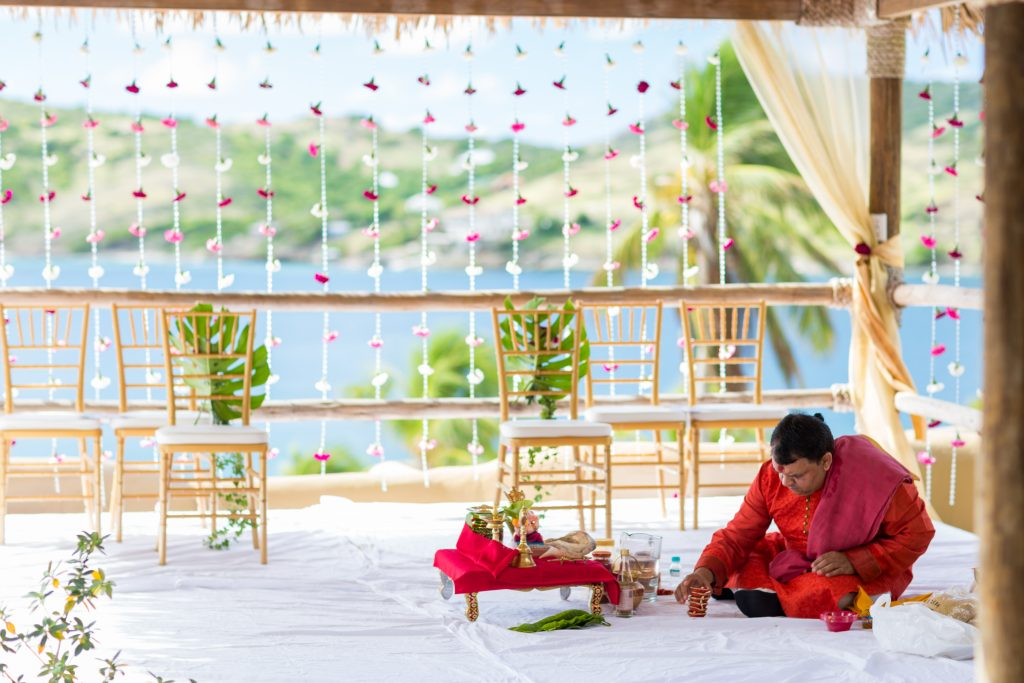 The wedding ceremony site at the Spa at St James Club in Antigua