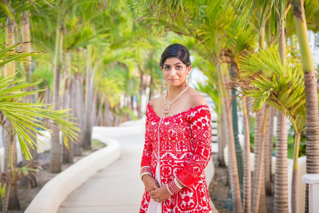 Cute portrait of the bride during destination wedding photo shoot in Antigua