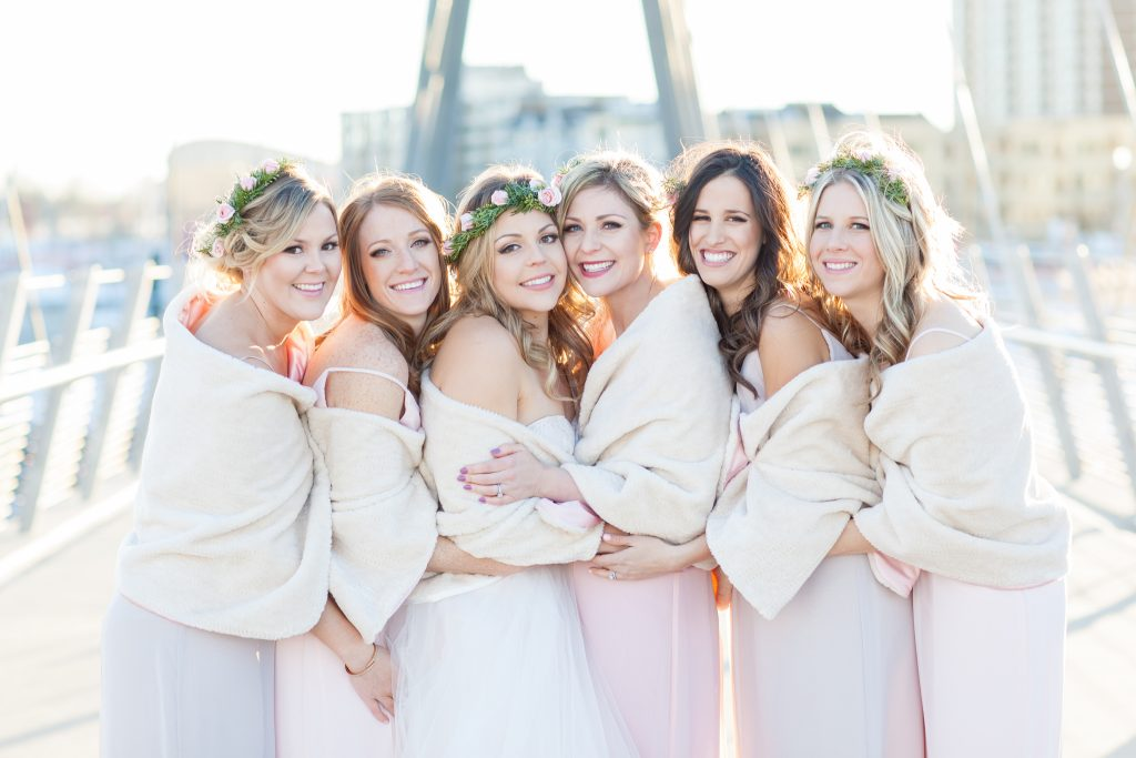 Benefits of planning a winter wedding include accessorizing with capes and shrugs