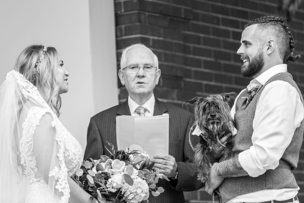 wedding ceremony with dogs in edmonton