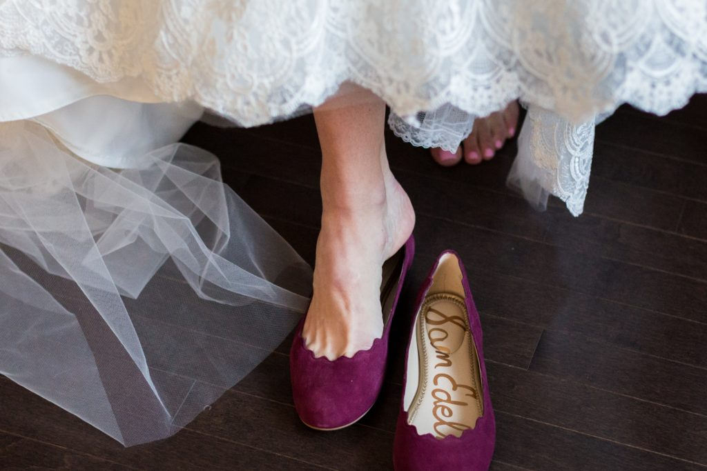 Burgundy wedding shoes for autumn wedding at Shaw Conference Centre