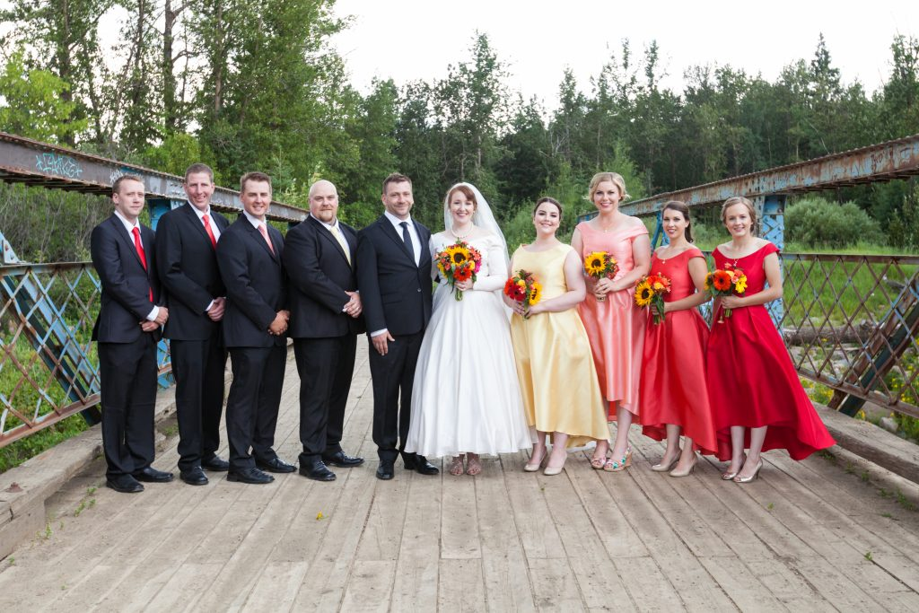 Wedding party portraits at McTaggart Sanctuary following St Thomas More Church wedding ceremony