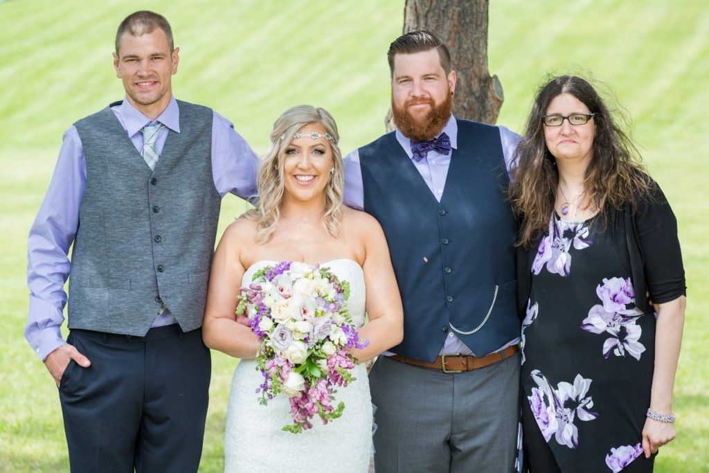 Family wedding portraits after summer wedding at Snow Valley