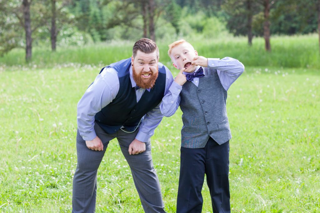 Snow Valley wedding photo of the groom and his son