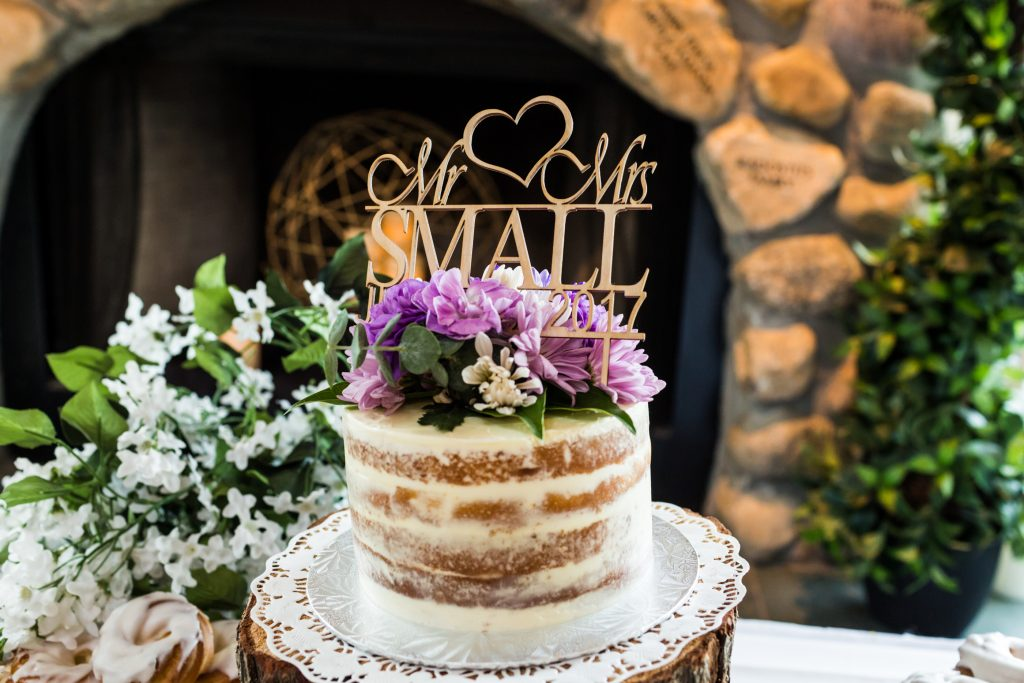 Custom rustic naked wedding cake at Snow Valley summer wedding