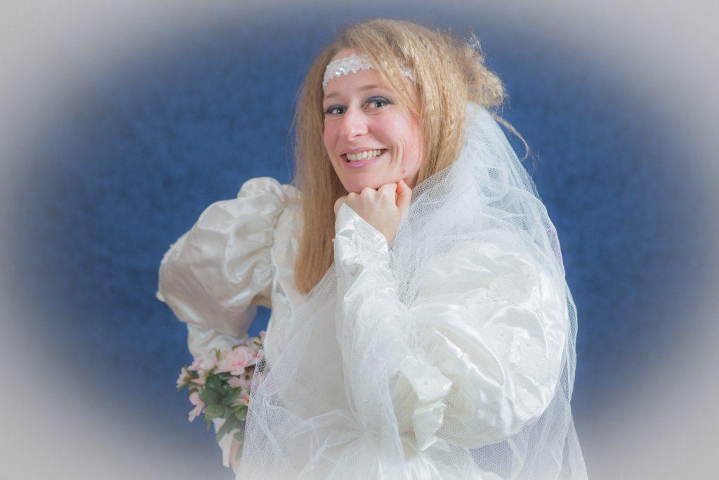 1980's themed engagement photos bride portrait