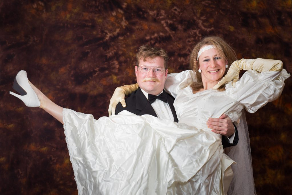 Engagement photos with 1980 theme bride and groom