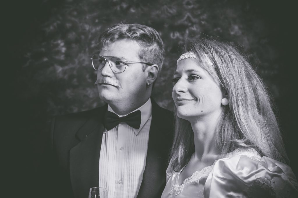 Classic moody 1980s bride and groom
