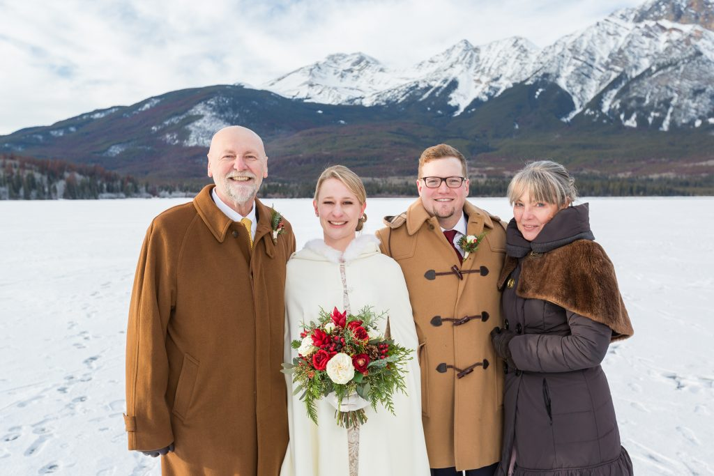 Outdoor family portraits during Pyramid lake winter wedding