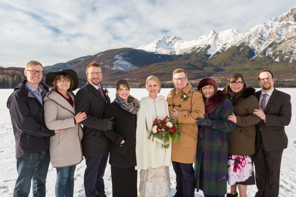 Pyramid Lake outdoor winter wedding family portrait session