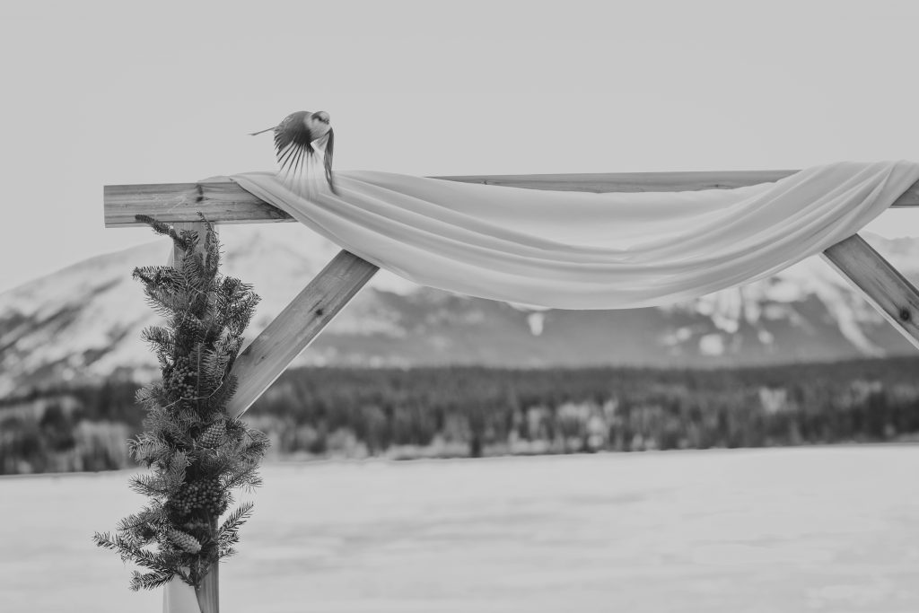 Outdoor wedding ceremony in the winter at Pyramid Lake in Jasper
