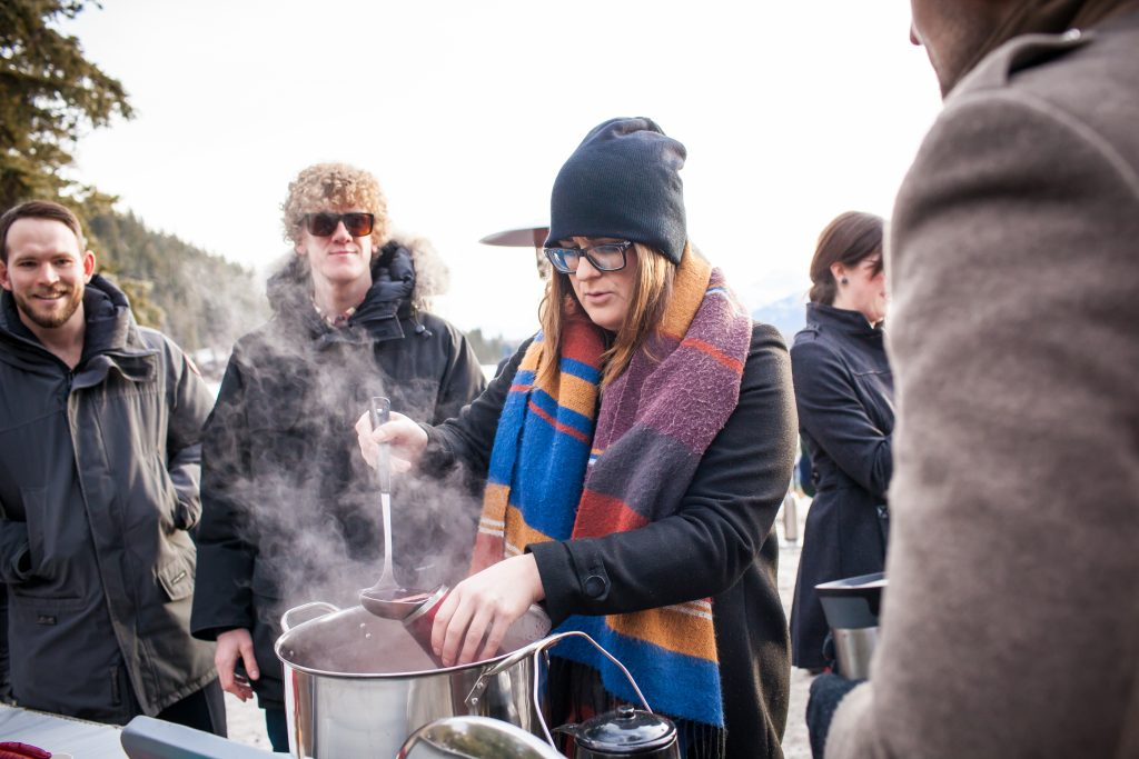 Mulled wine was served to guests during the outdoor winter ceremony at Pyramid Lake