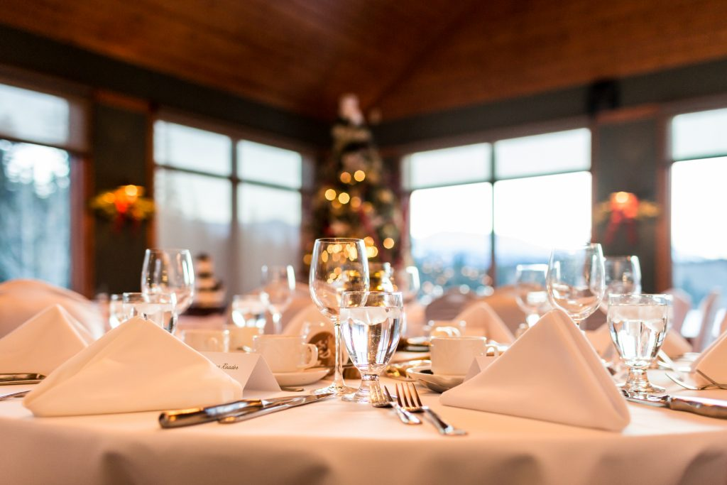 Winter wedding reception at Pines Restaurant at Pyramid Lake Lodge