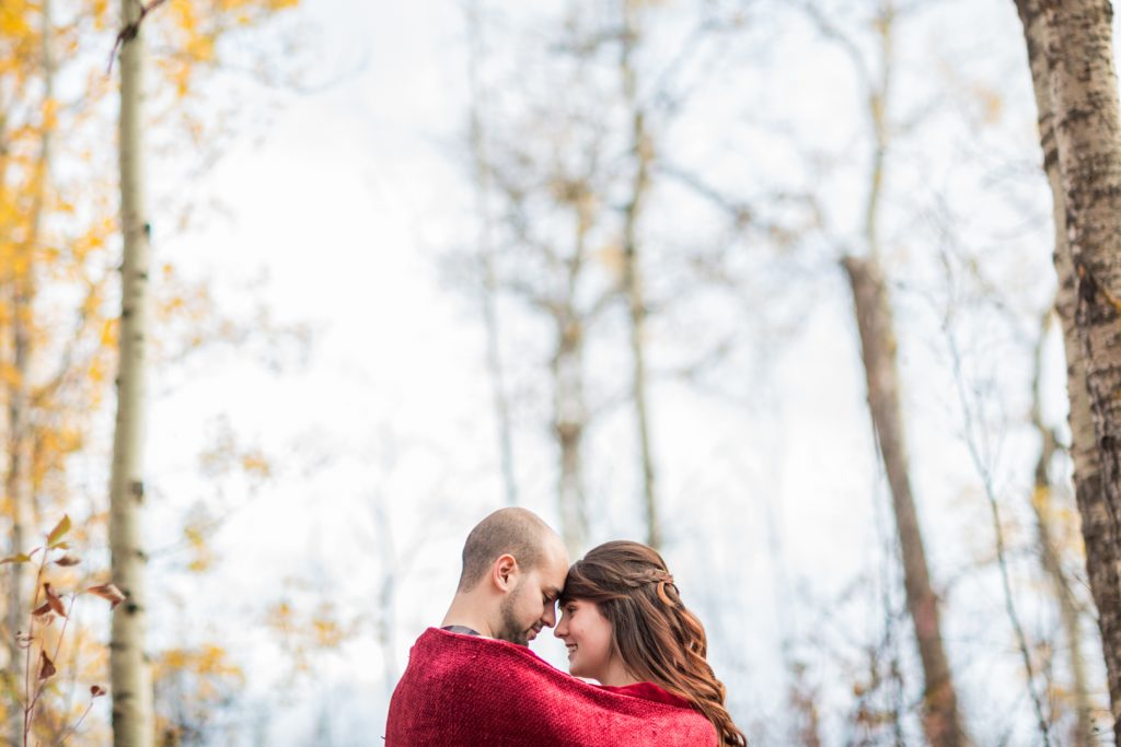 Autumn theme engagement photos Edmonton
