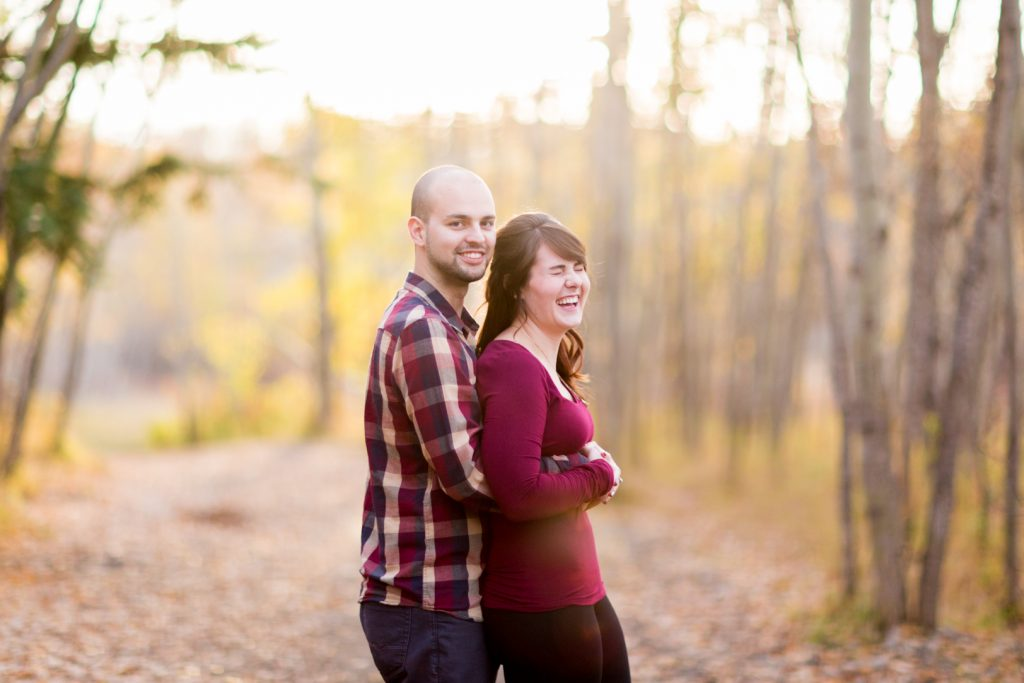 Candid Edmonton Autumn Engagement Photographers