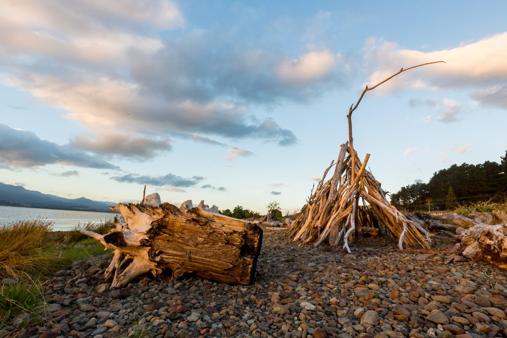 Lake Ferry Driftwood teepee sunset