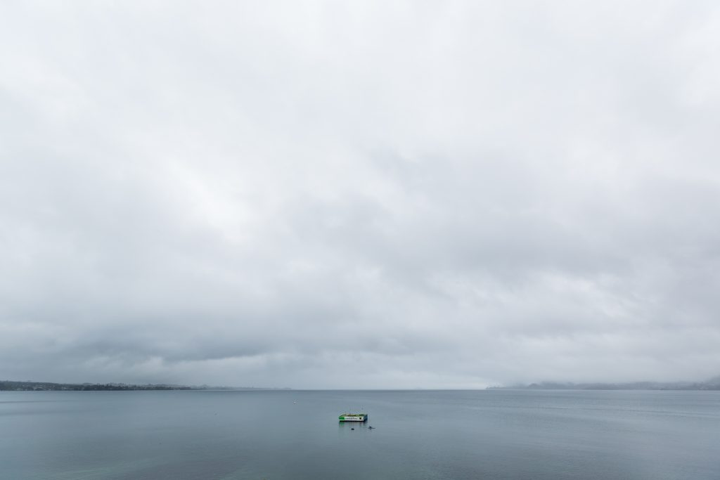 lake taupo rainy day