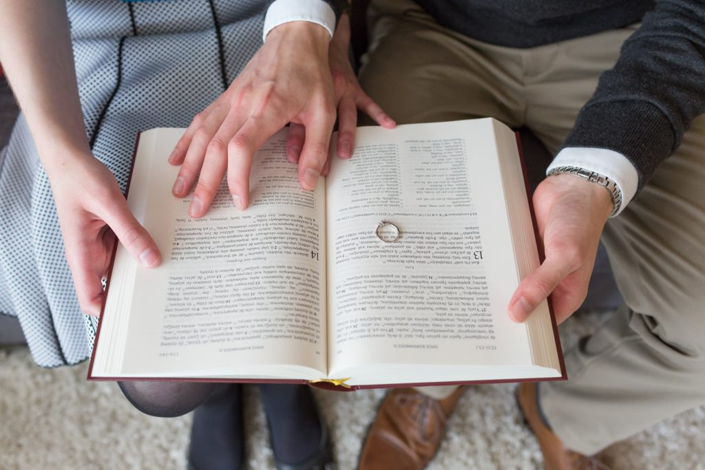 Romantic in home engagement pictures