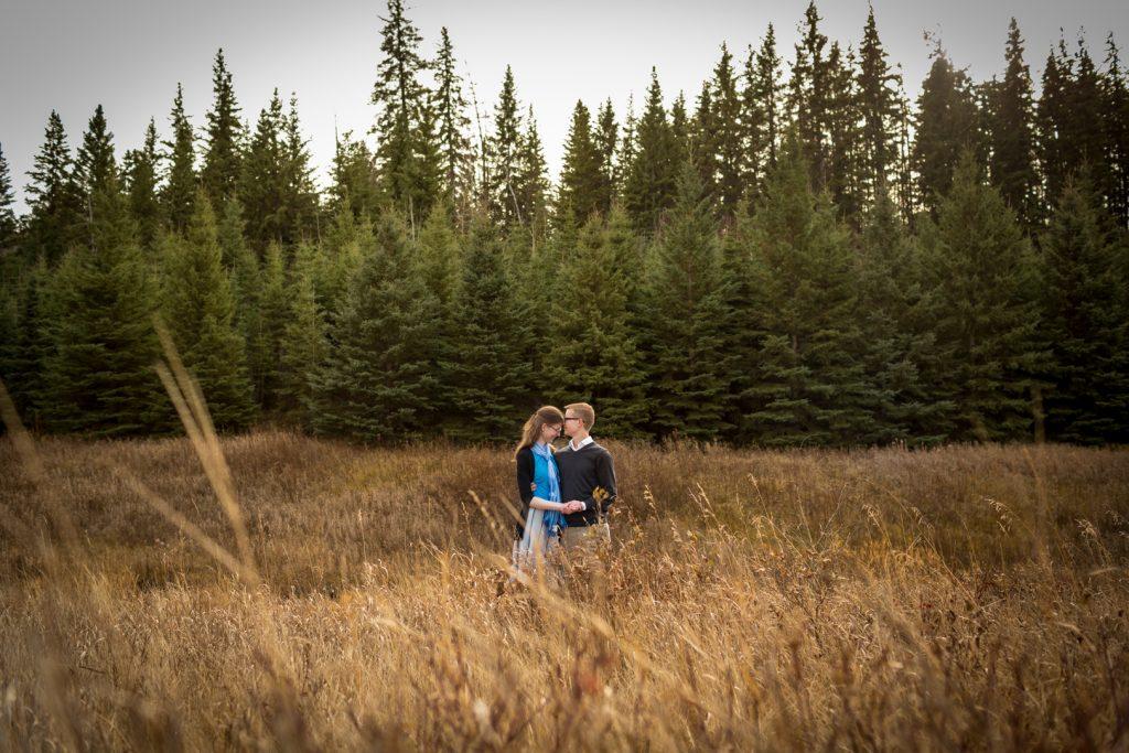 Romantic autumn engagement photos McTaggart Sanctuary Edmonton