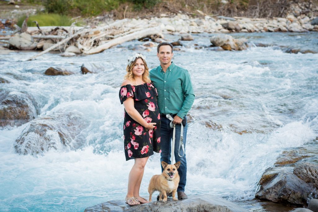 Maternity family portraits at elbow falls