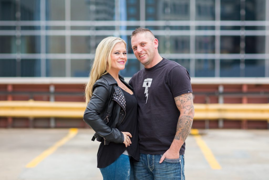 Downtown Edmonton parkade engagement photos