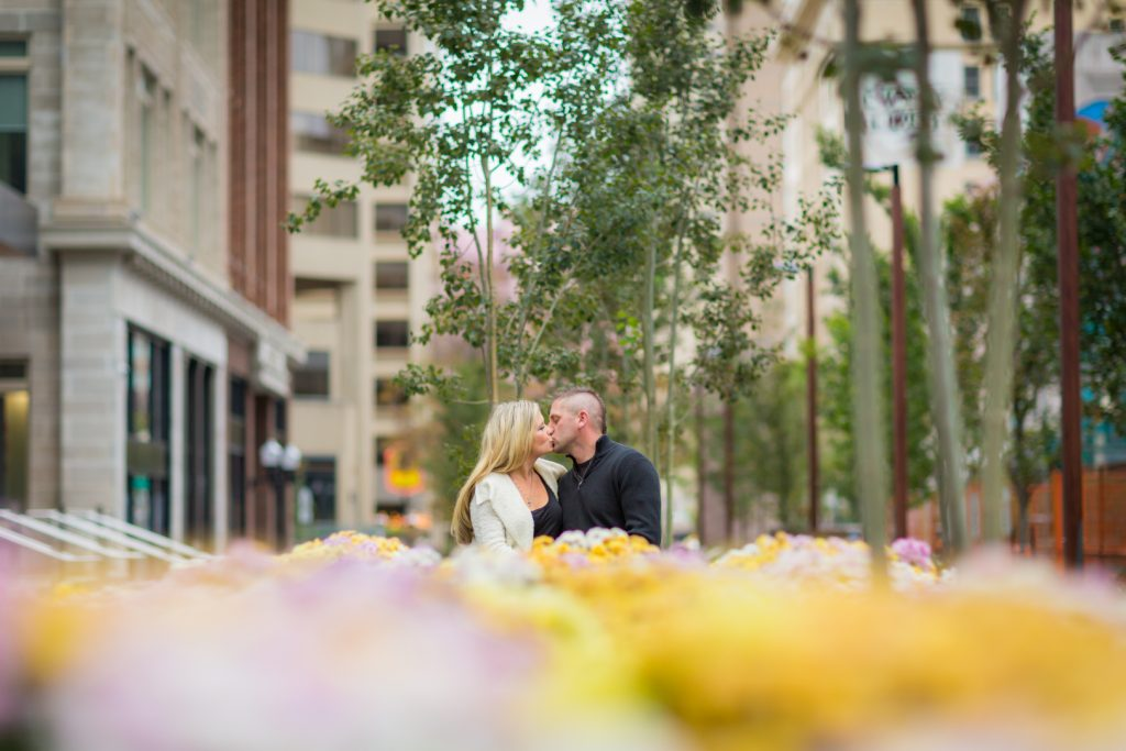Edmonton downtown engagement photos near Embridge building
