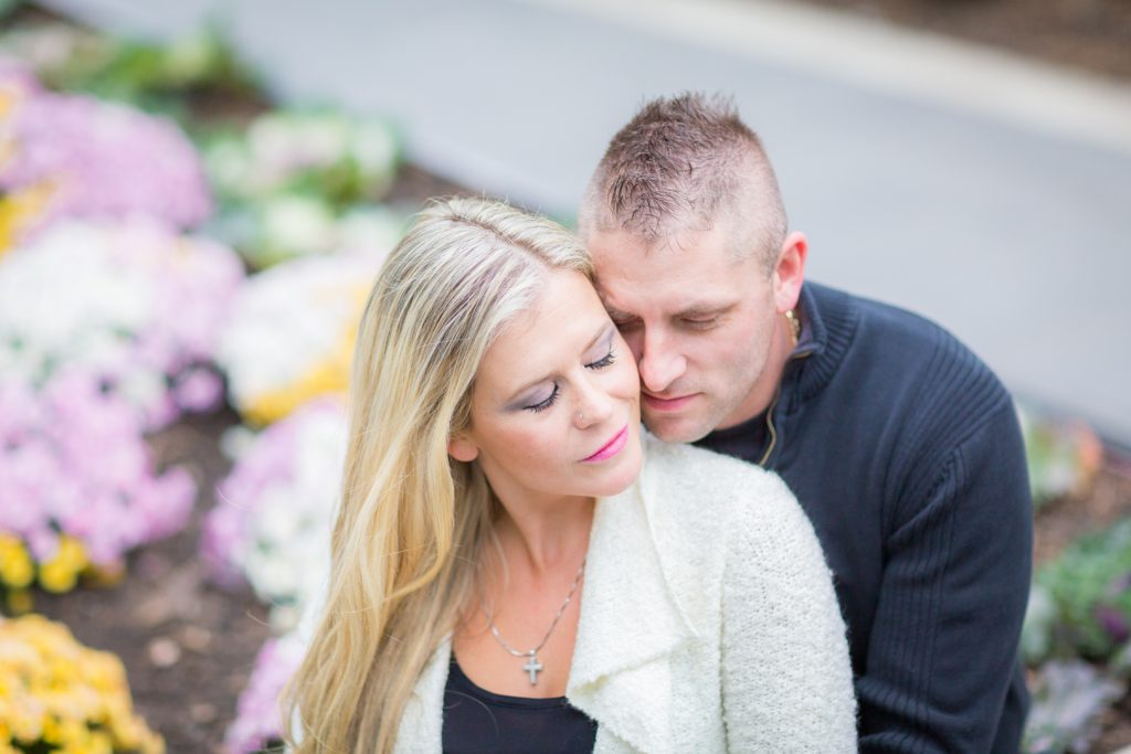Downtown engagement photos with flowers