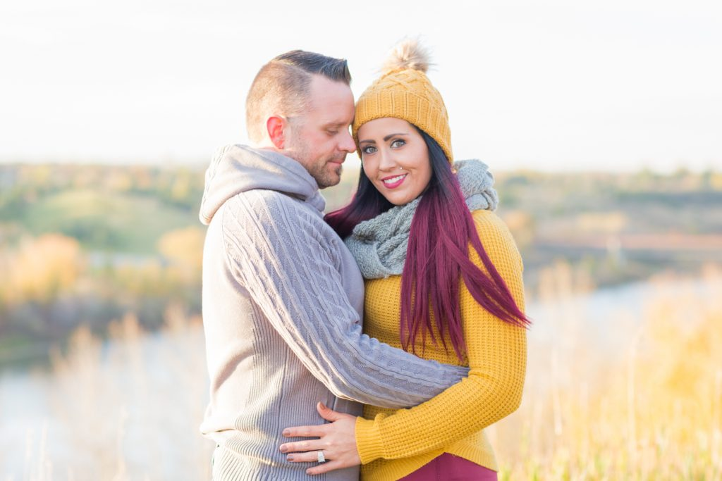 Gold and burgundy themed engagement photos