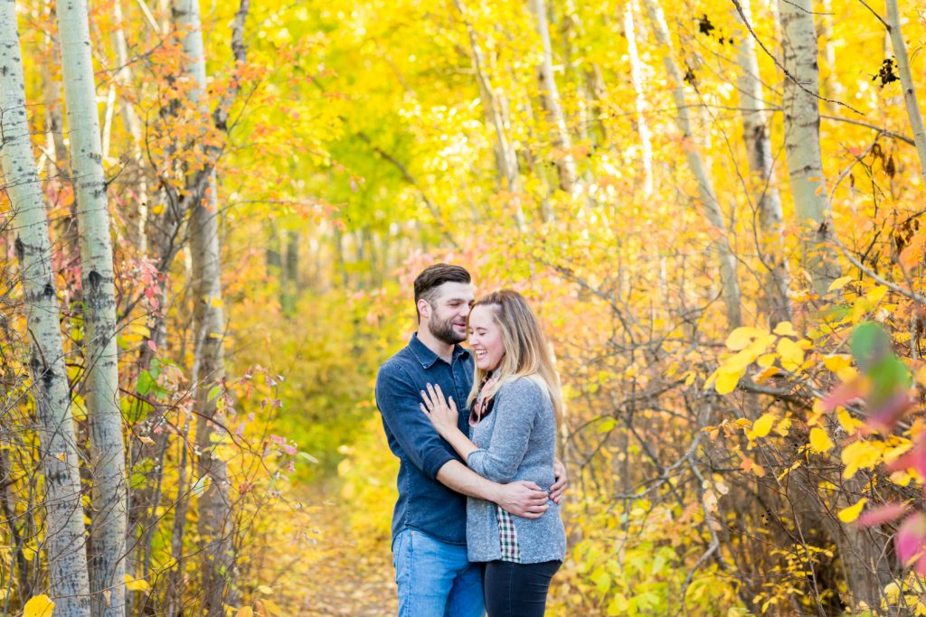Cute and casual Terwilliger Park engagement photos Edmonton