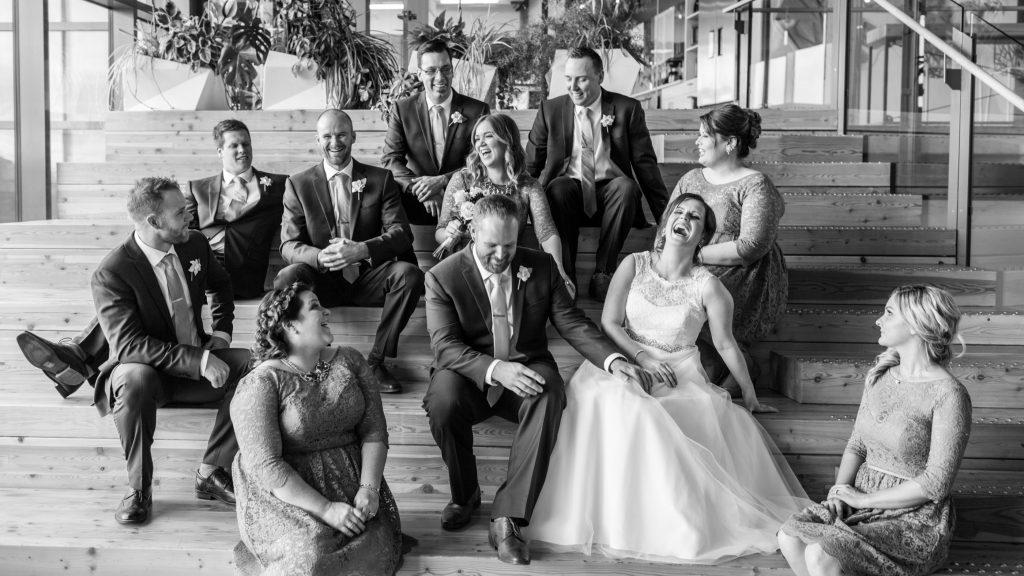Indoor wedding portrait location Mosaic Centre Edmonton
