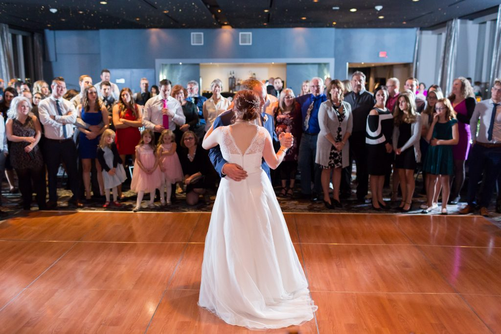 Bride and groom sharing their first dance together as husband and wife