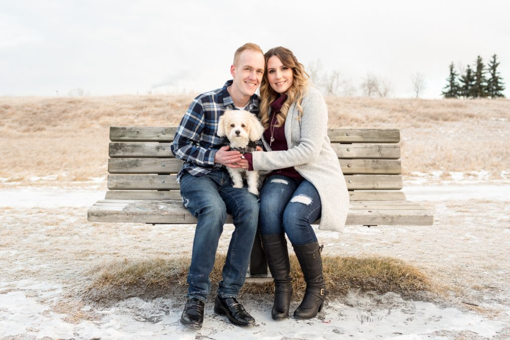 Strathcona Park Winter Engagement photos with dogs