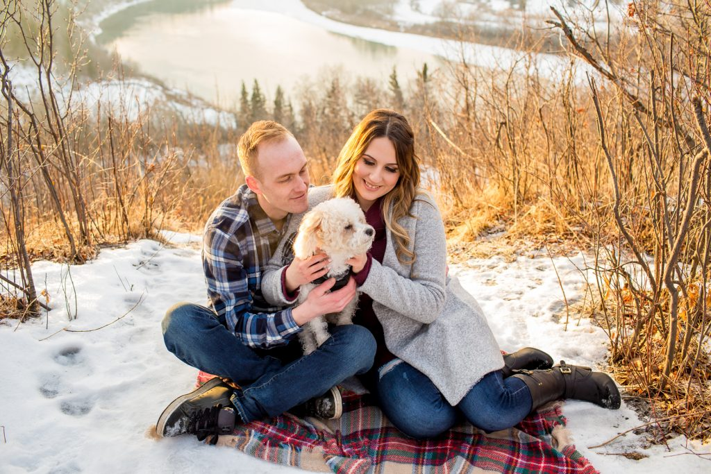 Sunset family portraits with dog at Strathcona Science Park