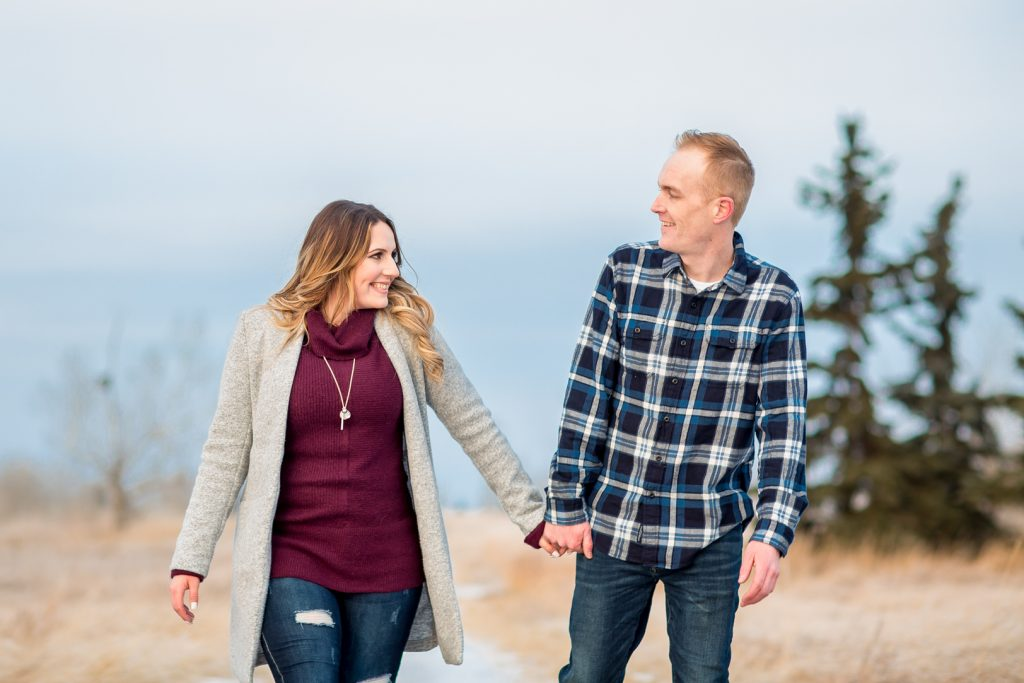 Outdoor winter engagement photo locations Edmonton