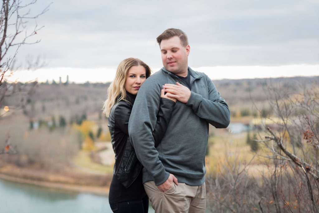 Edmonton river valley engagement photos at strathcona science park