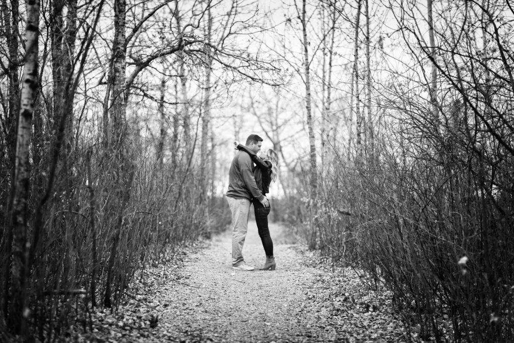 Black and white autumn Strathcona science park engagement photos