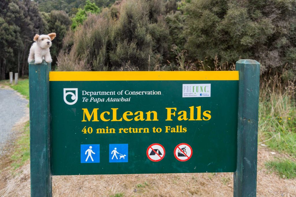 McLean Falls new zealand entry signpost