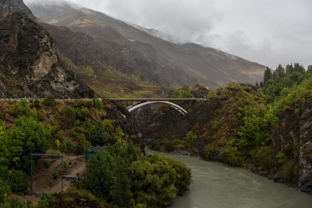 The view towards the highway from the Kawarau Gorge Suspension Bridge