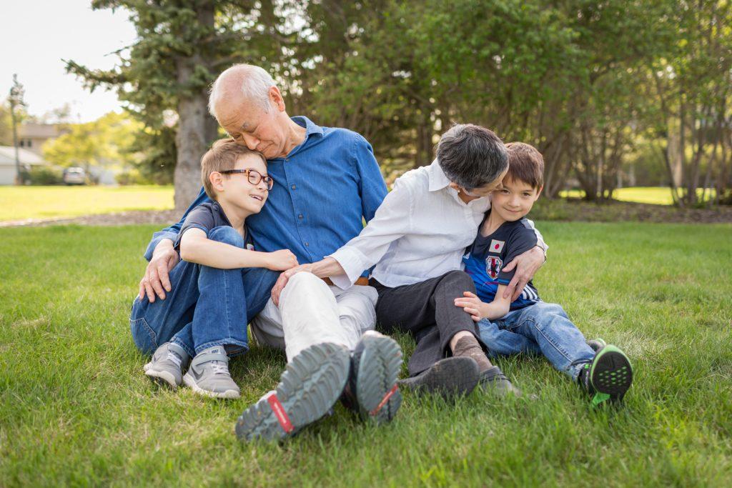 Grandparents and grandchildren family portraits
