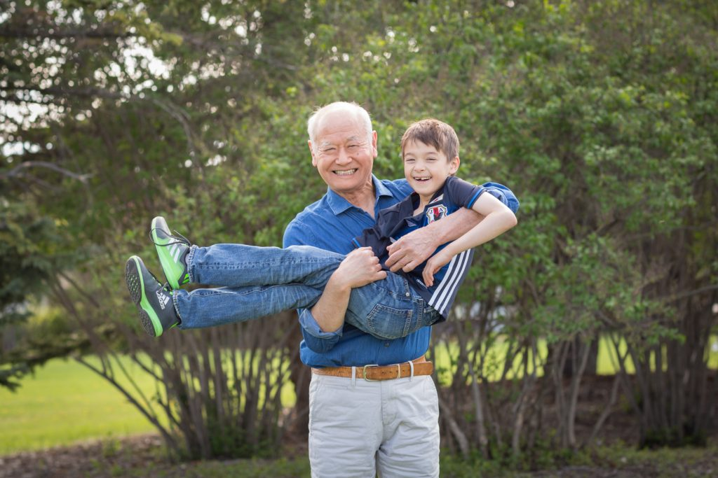 Edmonton Extended Family Photo of grandfather with grandson