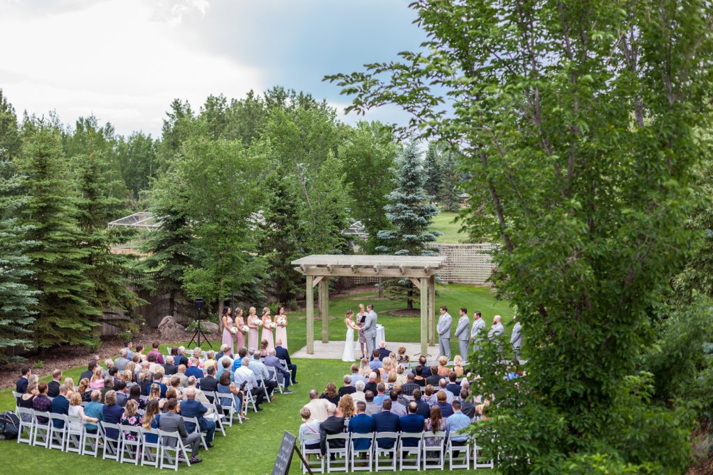 Countryside golf course wedding ceremony setup