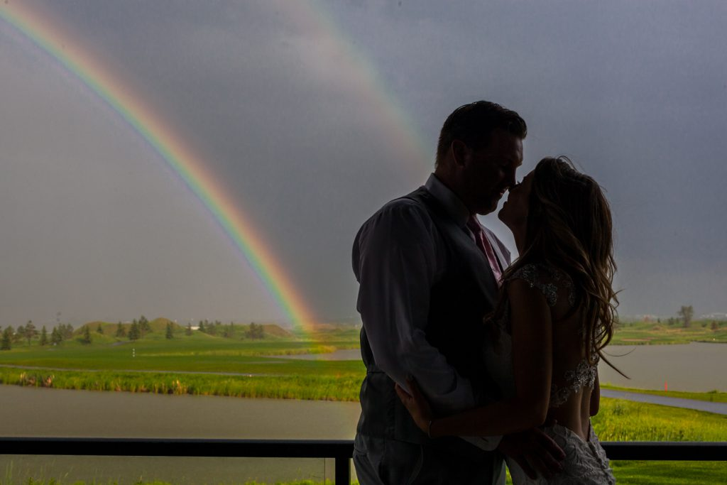 double rainbow wedding portrait