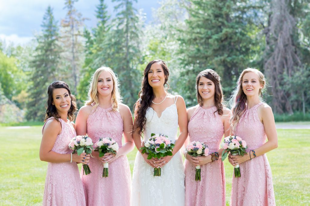 pink and blush bridesmaids dresses