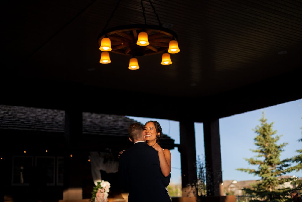 outdoor first dance at sunset