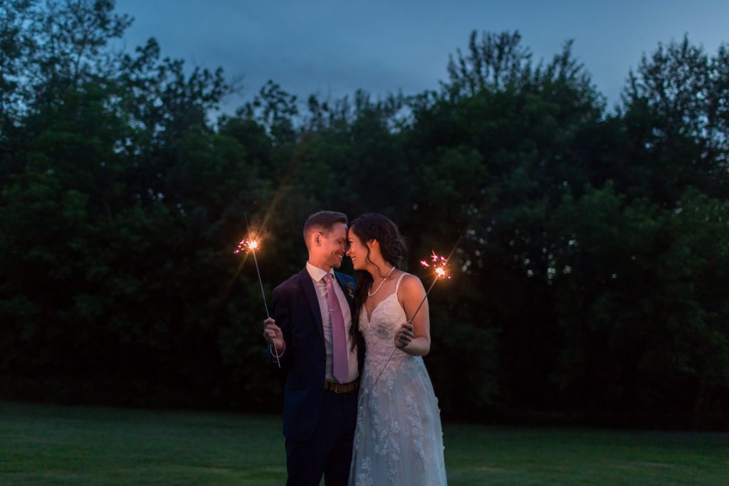 wedding portraits with sparklers