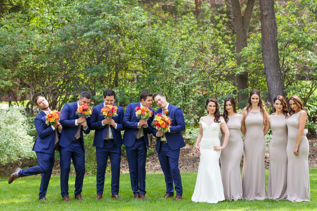Wedding party photos at university of alberta