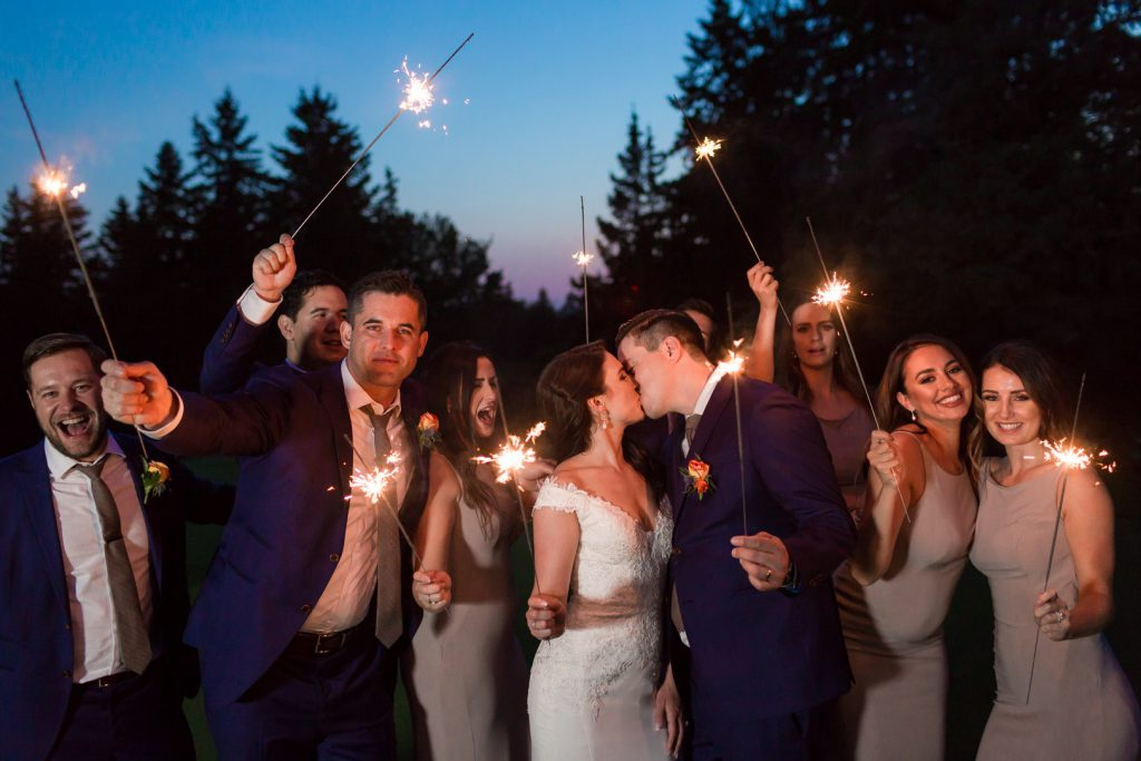 Night sparkler wedding photos