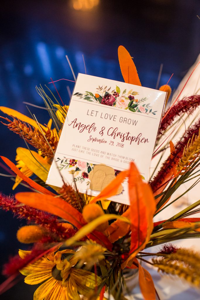 autumn wedding reception details